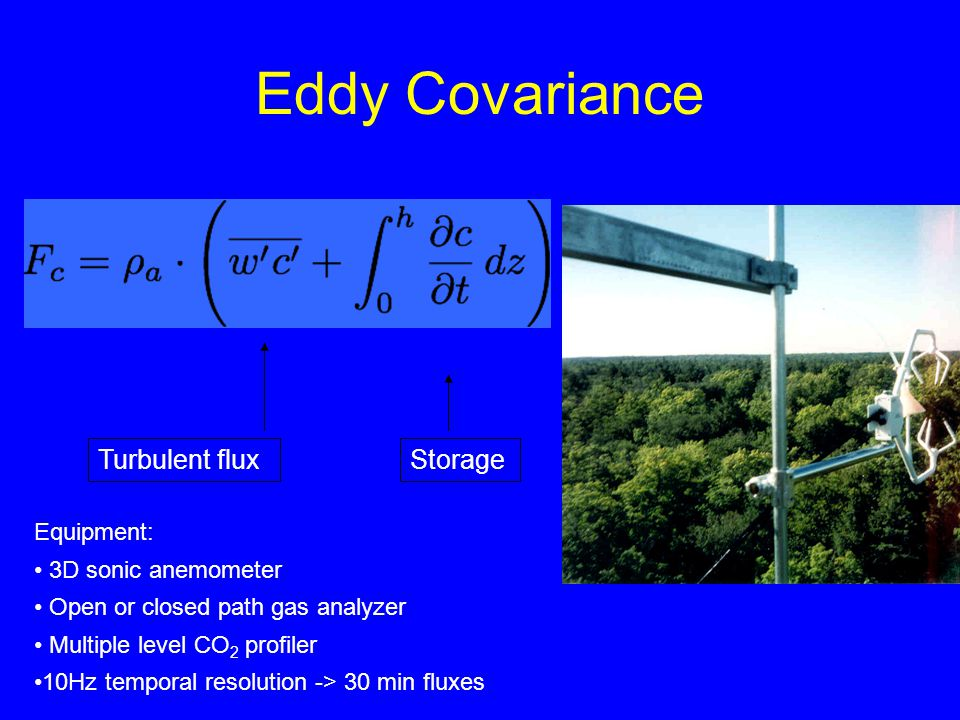 Eddy Covariance Turbulent fluxStorage Equipment: 3D sonic anemometer Open or closed path gas analyzer Multiple level CO 2 profiler 10Hz temporal resol
