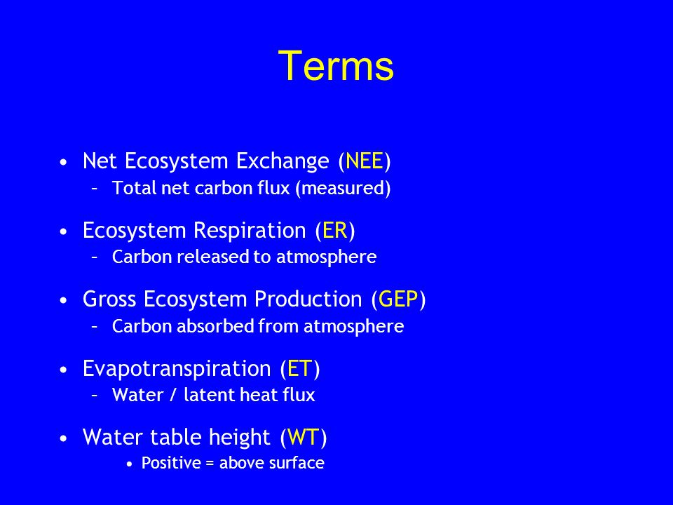 Terms Net Ecosystem Exchange (NEE) –Total net carbon flux (measured) Ecosystem Respiration (ER) –Carbon released to atmosphere Gross Ecosystem Product