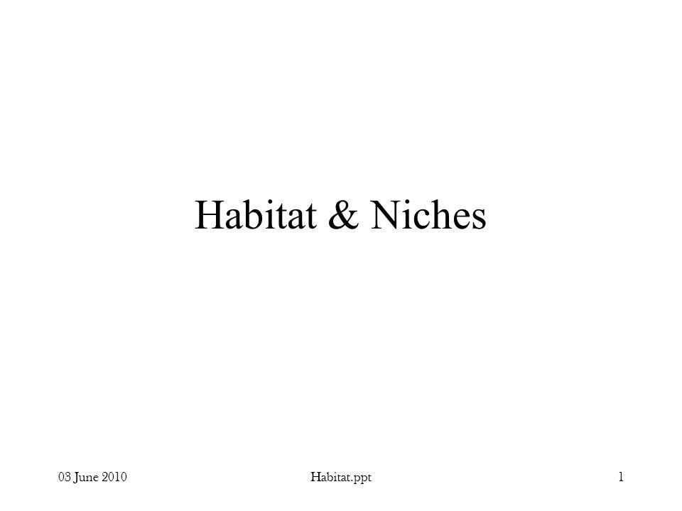 03 June 2010Habitat.ppt1 Habitat & Niches