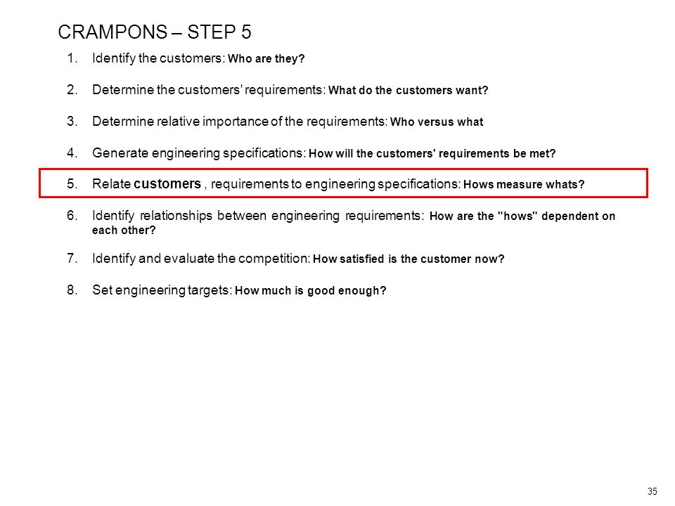 35 CRAMPONS – STEP 5 1.Identify the customers: Who are they.