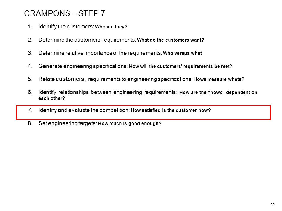 39 CRAMPONS – STEP 7 1.Identify the customers: Who are they.