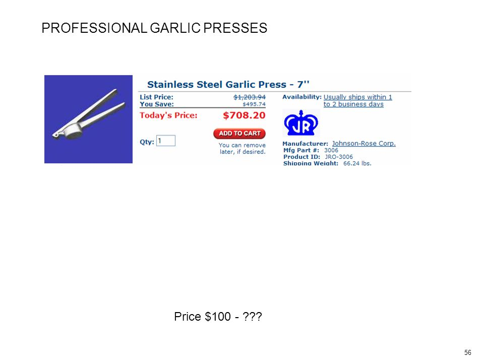 56 PROFESSIONAL GARLIC PRESSES Price $100 -