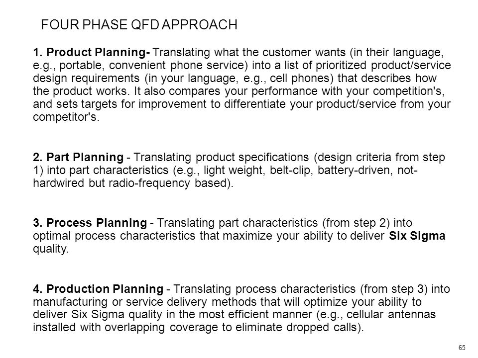 65 1. Product Planning- Translating what the customer wants (in their language, e.g., portable, convenient phone service) into a list of prioritized p