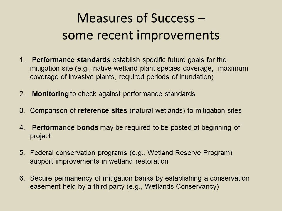 Measures of Success – some recent improvements 1.