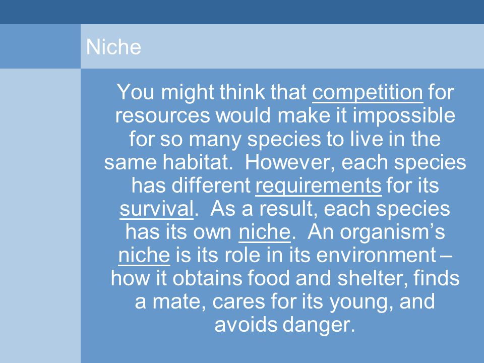 Niche You might think that competition for resources would make it impossible for so many species to live in the same habitat. However, each species h