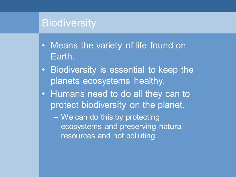 Biodiversity Means the variety of life found on Earth. Biodiversity is essential to keep the planets ecosystems healthy. Humans need to do all they ca