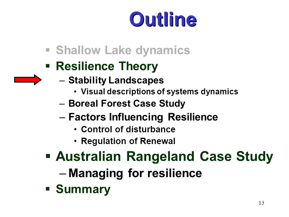 13  Shallow Lake dynamics  Resilience Theory –Stability Landscapes Visual descriptions of systems dynamics –Boreal Forest Case Study –Factors Influencing Resilience Control of disturbance Regulation of Renewal  Australian Rangeland Case Study –Managing for resilience  Summary Outline