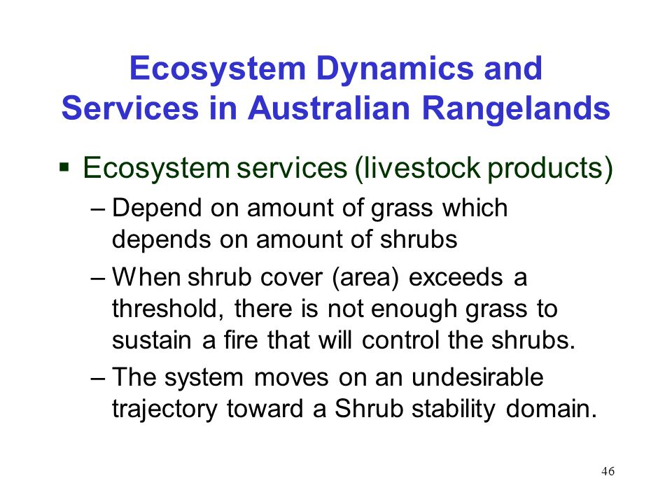 46 Ecosystem Dynamics and Services in Australian Rangelands  Ecosystem services (livestock products) –Depend on amount of grass which depends on amount of shrubs –When shrub cover (area) exceeds a threshold, there is not enough grass to sustain a fire that will control the shrubs.
