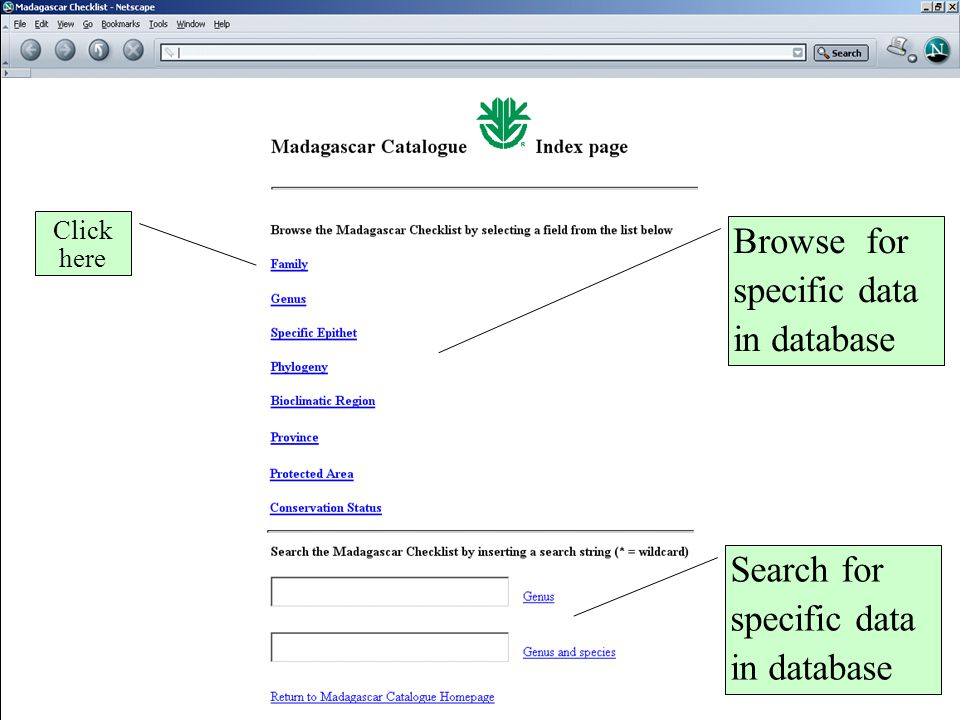 Click here Browse for specific data in database Search for specific data in database