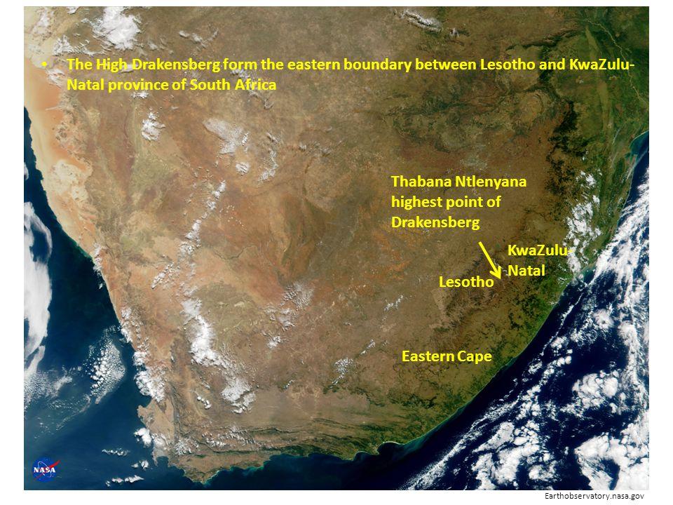 Thabana Ntlenyana highest point of Drakensberg The High Drakensberg form the eastern boundary between Lesotho and KwaZulu- Natal province of South Afr