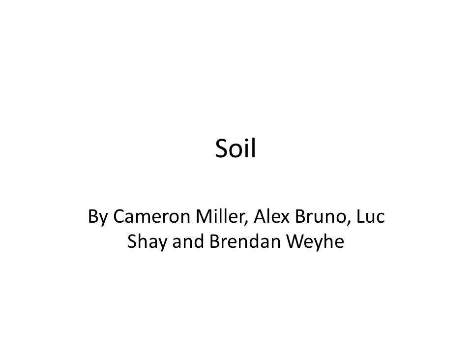 Soil By Cameron Miller, Alex Bruno, Luc Shay and Brendan Weyhe