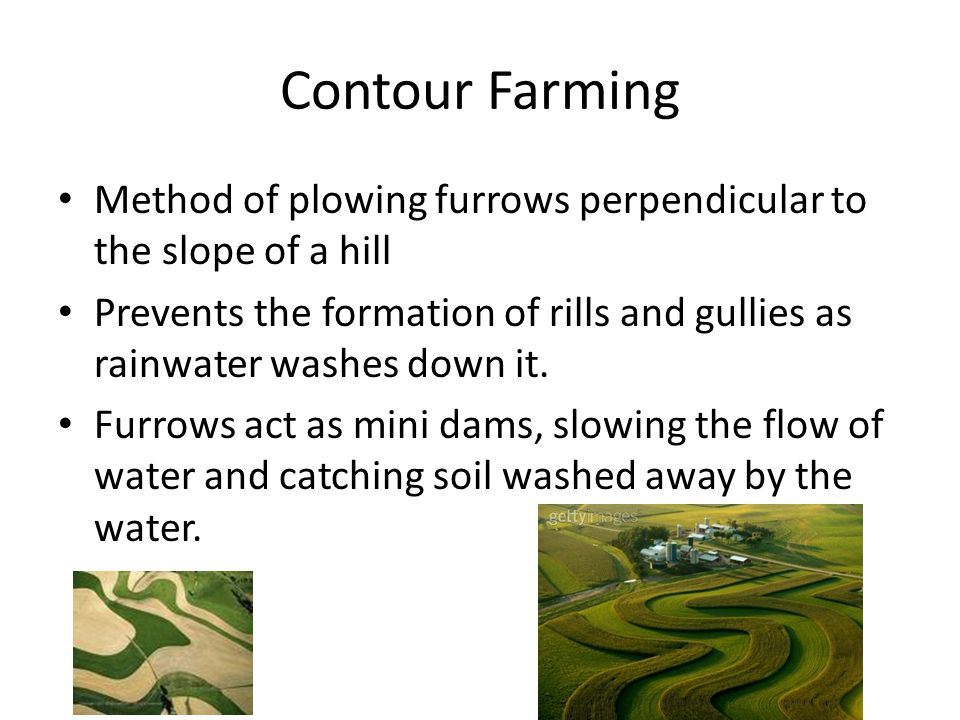 Contour Farming Method of plowing furrows perpendicular to the slope of a hill Prevents the formation of rills and gullies as rainwater washes down it