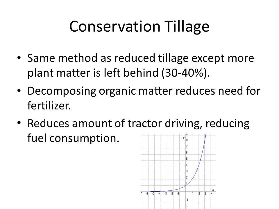 Conservation Tillage Same method as reduced tillage except more plant matter is left behind (30-40%). Decomposing organic matter reduces need for fert