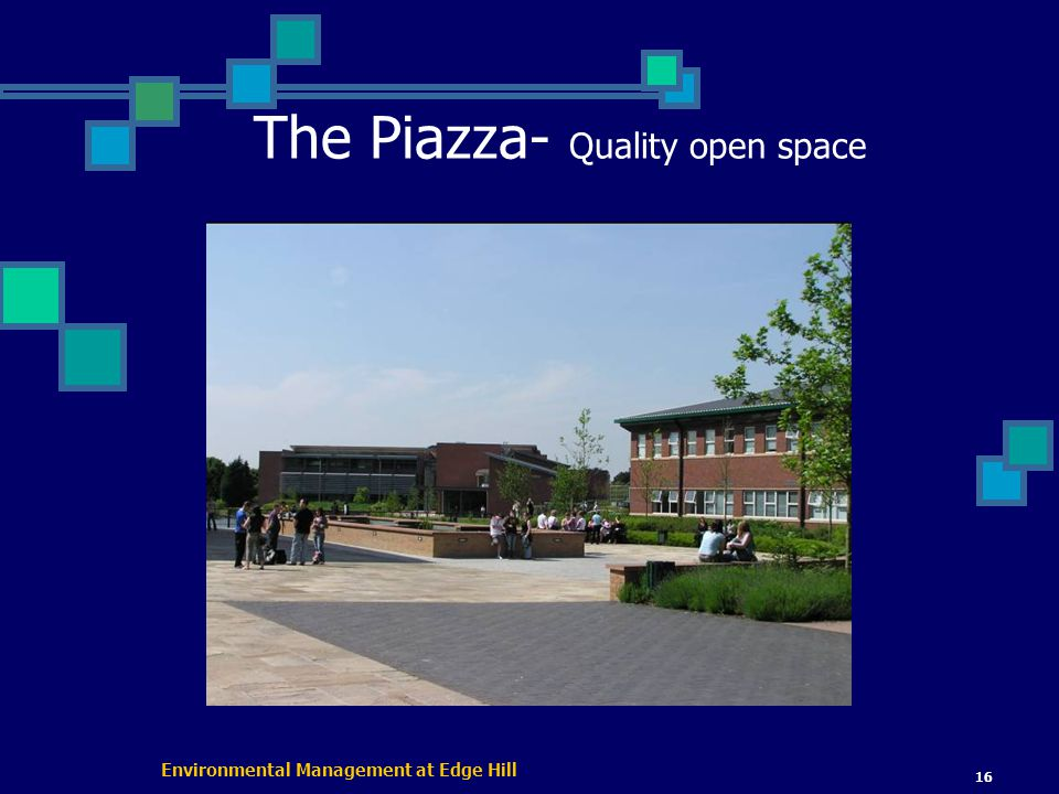 Environmental Management at Edge Hill 16 The Piazza- Quality open space