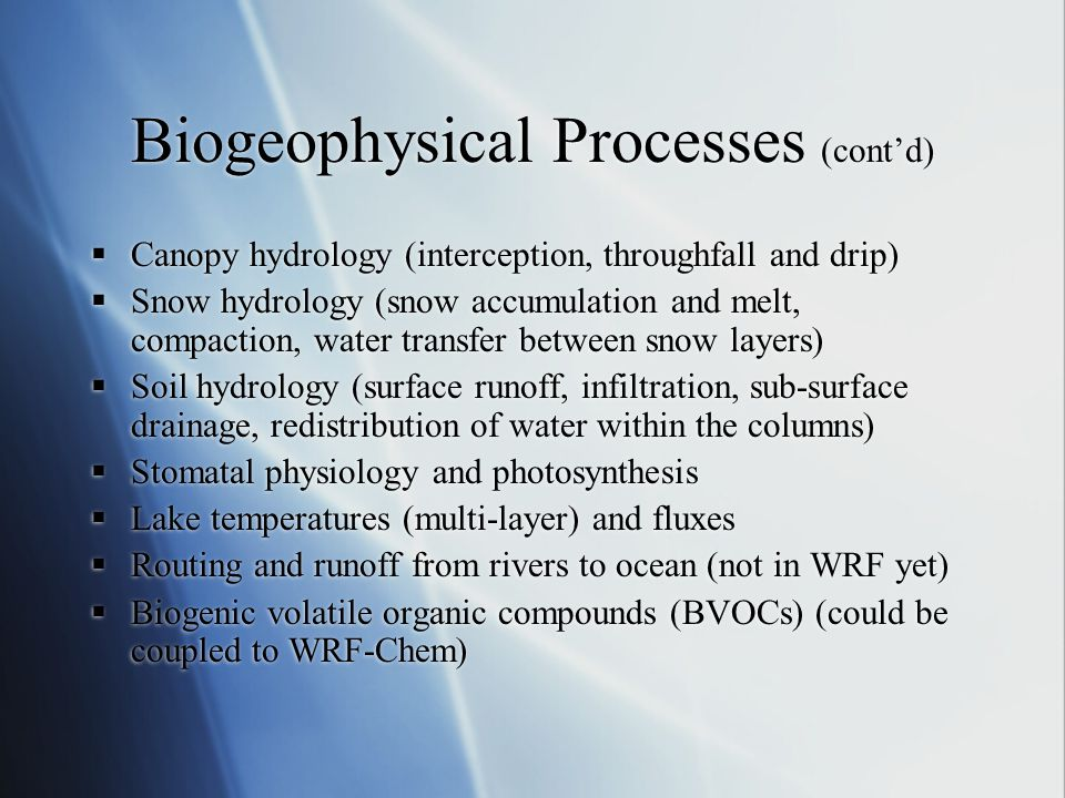 Biogeophysical Processes (cont'd)  Canopy hydrology (interception, throughfall and drip)  Snow hydrology (snow accumulation and melt, compaction, wa