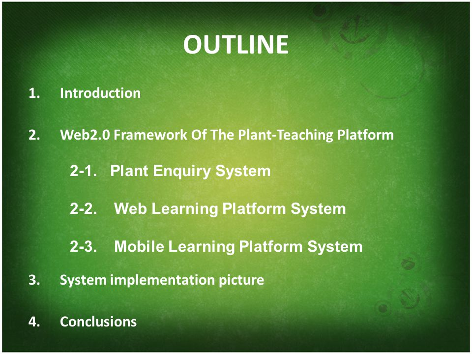 OUTLINE 1.Introduction 2.Web2.0 Framework Of The Plant-Teaching Platform 3.System implementation picture 4.Conclusions 2-1.