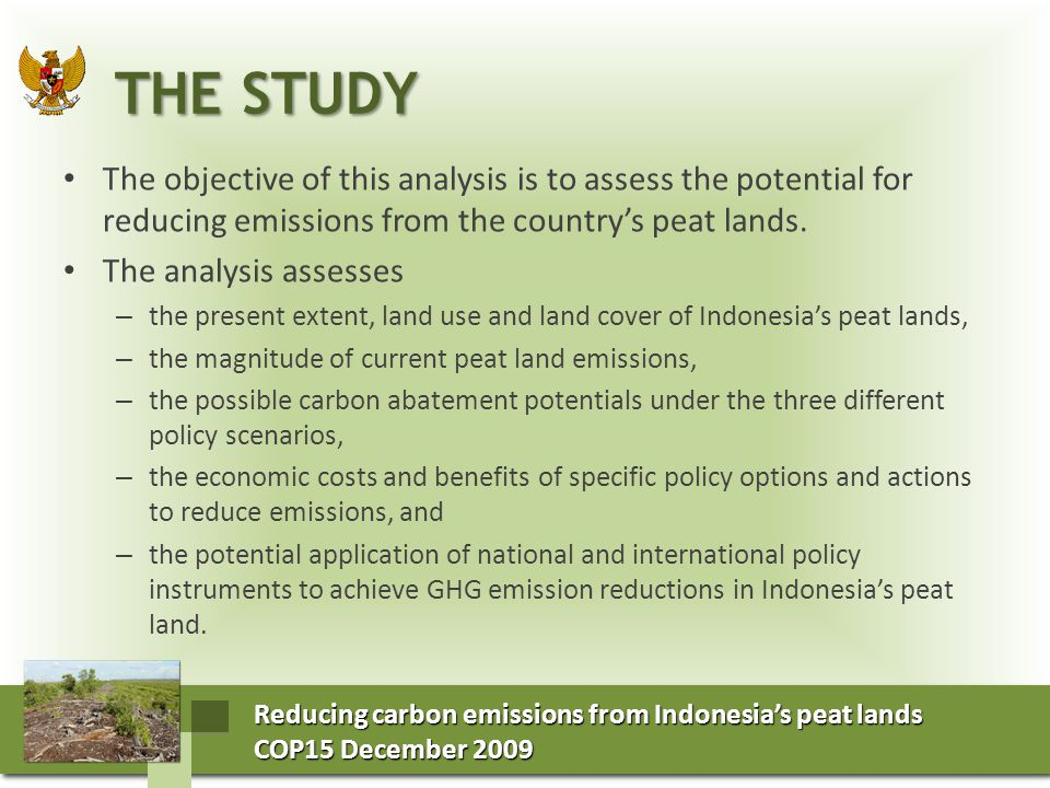 Reducing carbon emissions from Indonesia's peat lands COP15 December 2009 COP15 December 2009 Reducing carbon emissions from Indonesia's peat lands COP15 December 2009 COP15 December 2009 INDONESIA'S PEAT LANDS INDONESIA'S PEAT LANDS Indonesia has around 21 million hectares of peat.