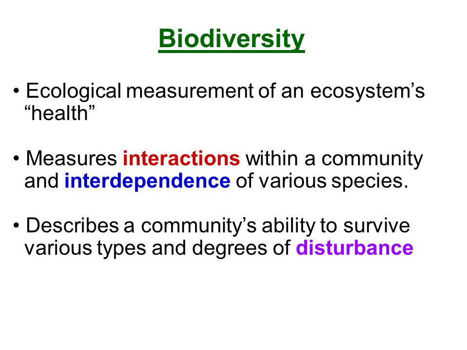 "Ecological measurement of an ecosystem's ""health"" Measures interactions within a community and interdependence of various species. Describes a communi"