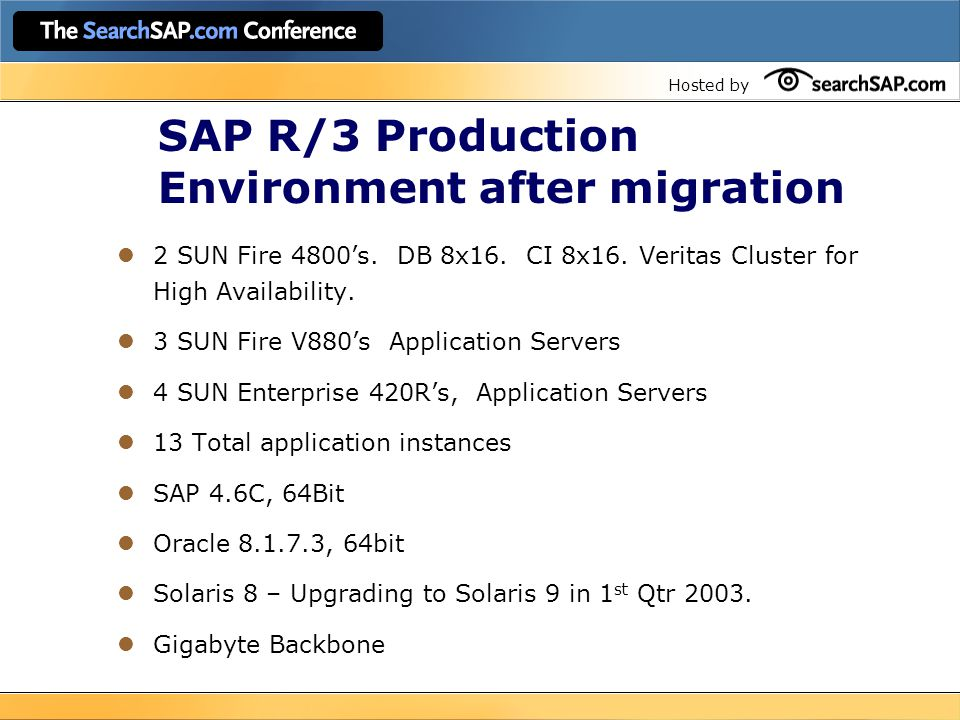 Hosted by SAP R/3 Production Environment after migration 2 SUN Fire 4800's.