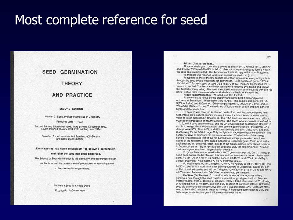 Most complete reference for seed