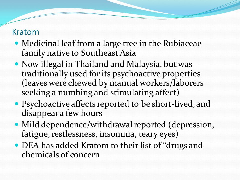 Kratom Medicinal leaf from a large tree in the Rubiaceae family native to Southeast Asia Now illegal in Thailand and Malaysia, but was traditionally u