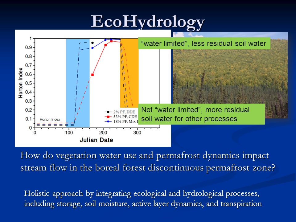 EcoHydrology How do vegetation water use and permafrost dynamics impact stream flow in the boreal forest discontinuous permafrost zone? Holistic appro
