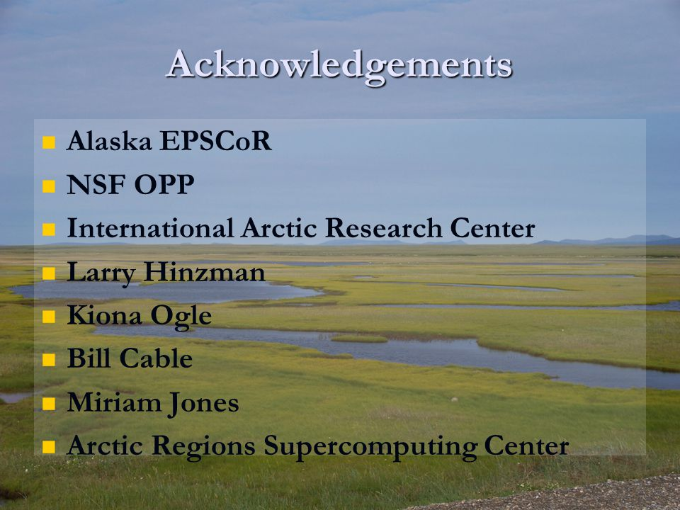Acknowledgements Alaska EPSCoR NSF OPP International Arctic Research Center Larry Hinzman Kiona Ogle Bill Cable Miriam Jones Arctic Regions Supercomputing Center