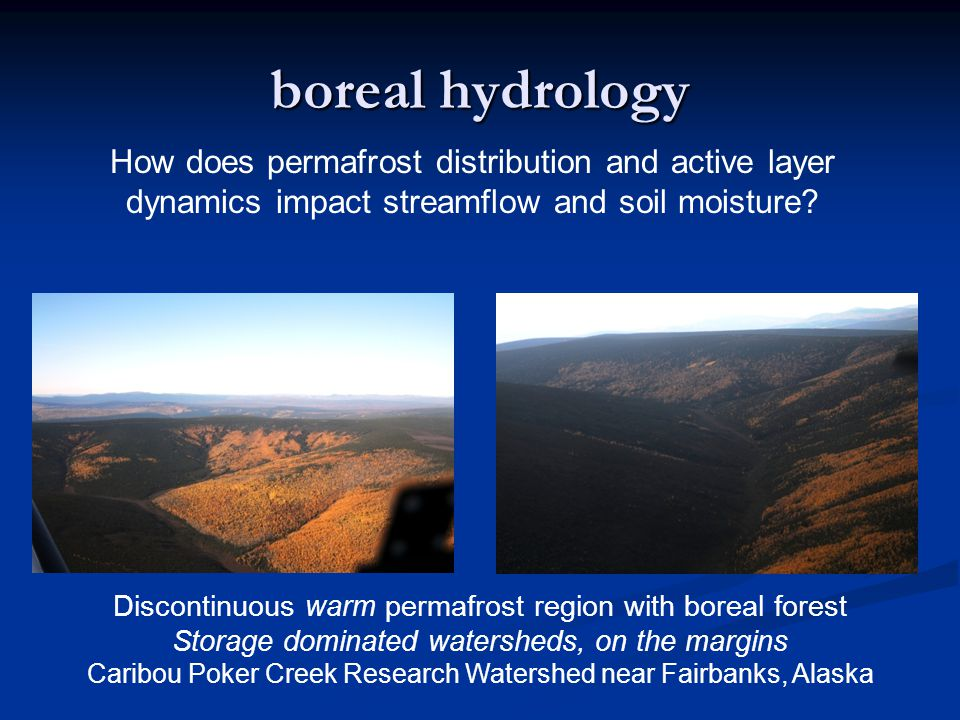 boreal hydrology How does permafrost distribution and active layer dynamics impact streamflow and soil moisture.