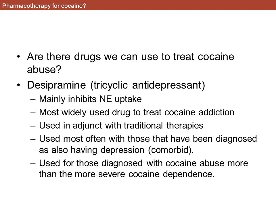 Pharmacotherapy for cocaine.Are there drugs we can use to treat cocaine abuse.