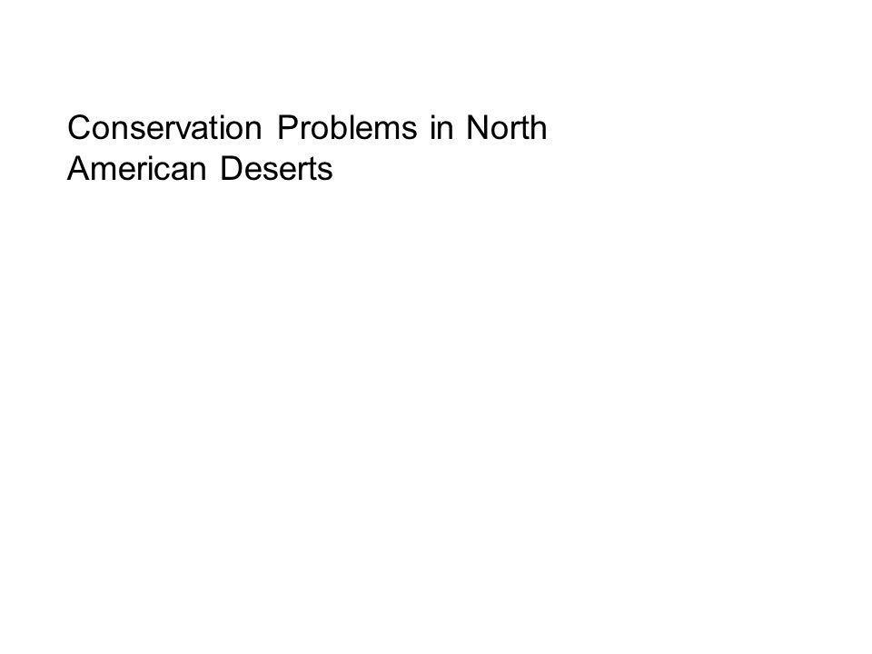 Conservation Problems in North American Deserts
