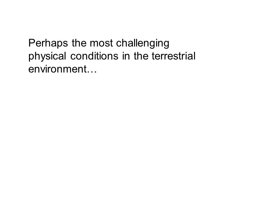 Perhaps the most challenging physical conditions in the terrestrial environment…