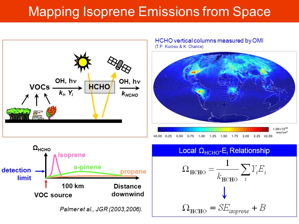 Mapping Isoprene Emissions from Space VOCs HCHO OH, h k i, Y i OH, h k HCHO Local Ω HCHO -E i Relationship HCHO vertical columns measured by OMI (T.P.