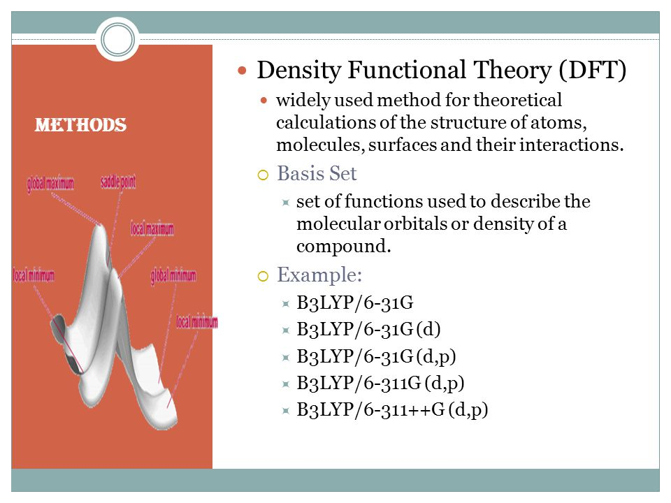 Methods Density Functional Theory (DFT) widely used method for theoretical calculations of the structure of atoms, molecules, surfaces and their interactions.