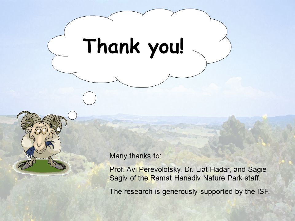 Thank you. Many thanks to: Prof. Avi Perevolotsky, Dr.