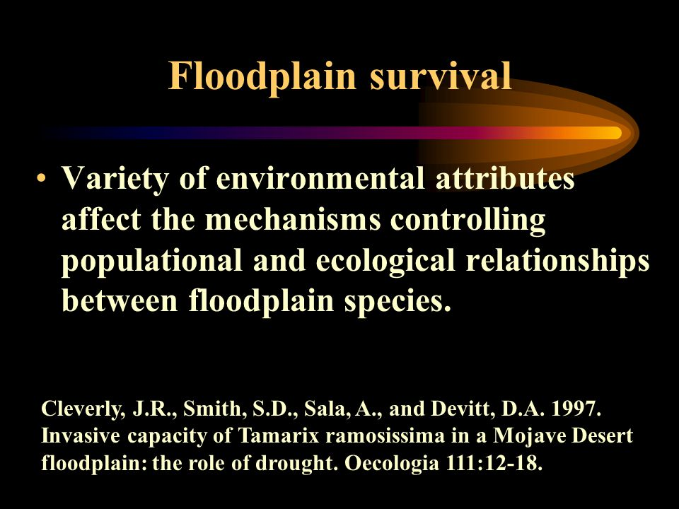 Floodplain survival Variety of environmental attributes affect the mechanisms controlling populational and ecological relationships between floodplain species.