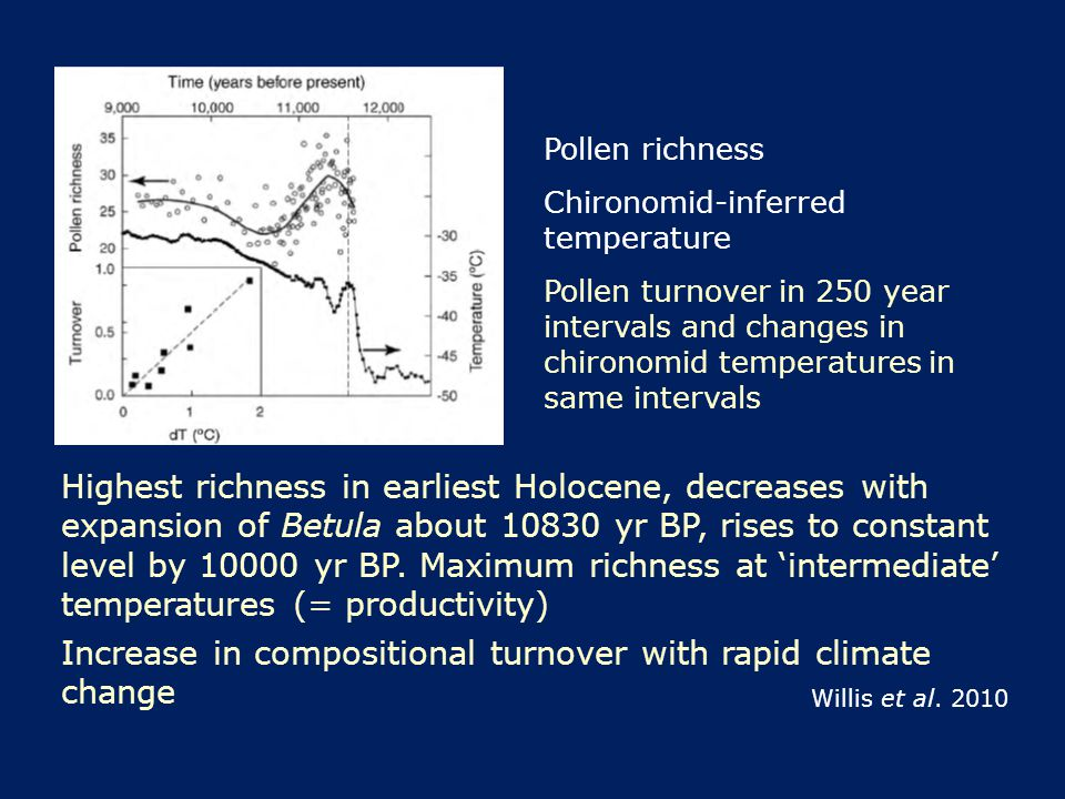 Pollen richness Chironomid-inferred temperature Pollen turnover in 250 year intervals and changes in chironomid temperatures in same intervals Highest richness in earliest Holocene, decreases with expansion of Betula about 10830 yr BP, rises to constant level by 10000 yr BP.