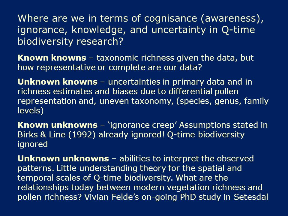 Where are we in terms of cognisance (awareness), ignorance, knowledge, and uncertainty in Q-time biodiversity research.