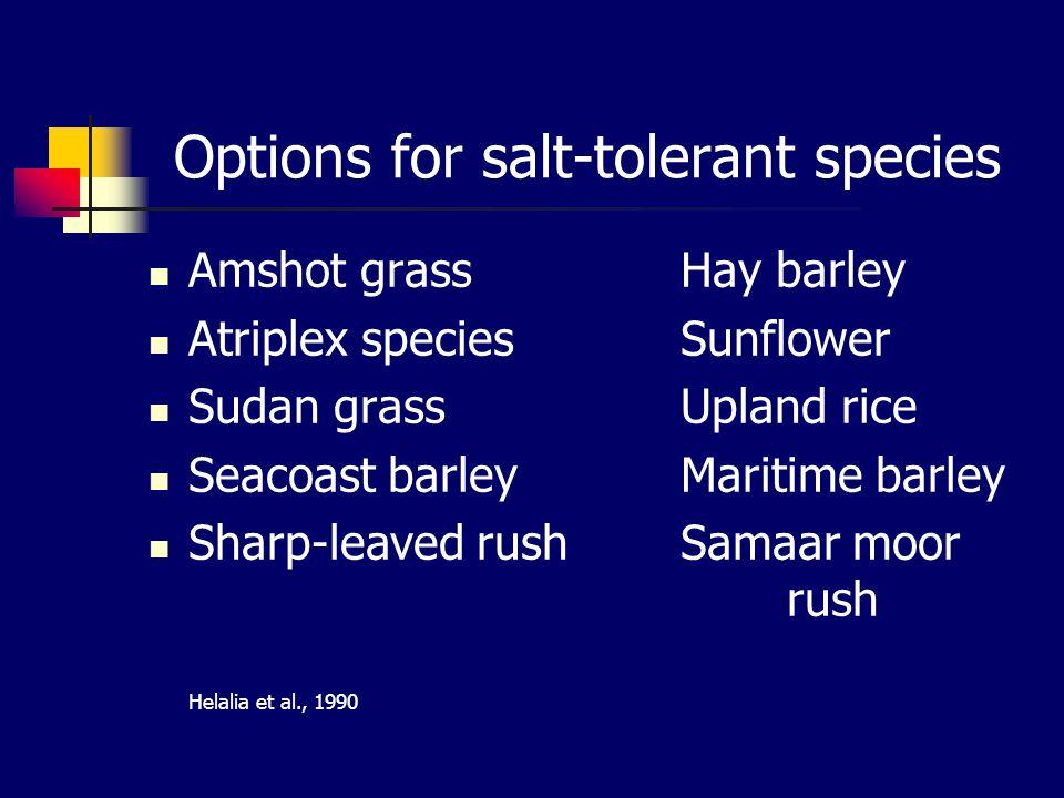 Options for salt-tolerant species Amshot grassHay barley Atriplex speciesSunflower Sudan grassUpland rice Seacoast barleyMaritime barley Sharp-leaved rushSamaar moor rush Helalia et al., 1990