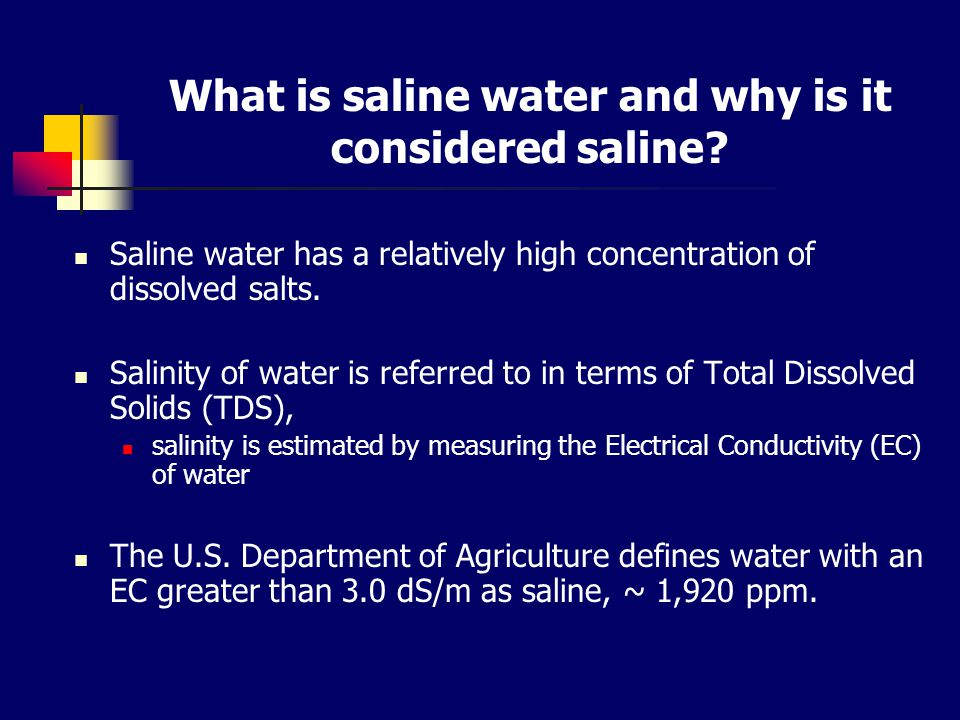 What is saline water and why is it considered saline.