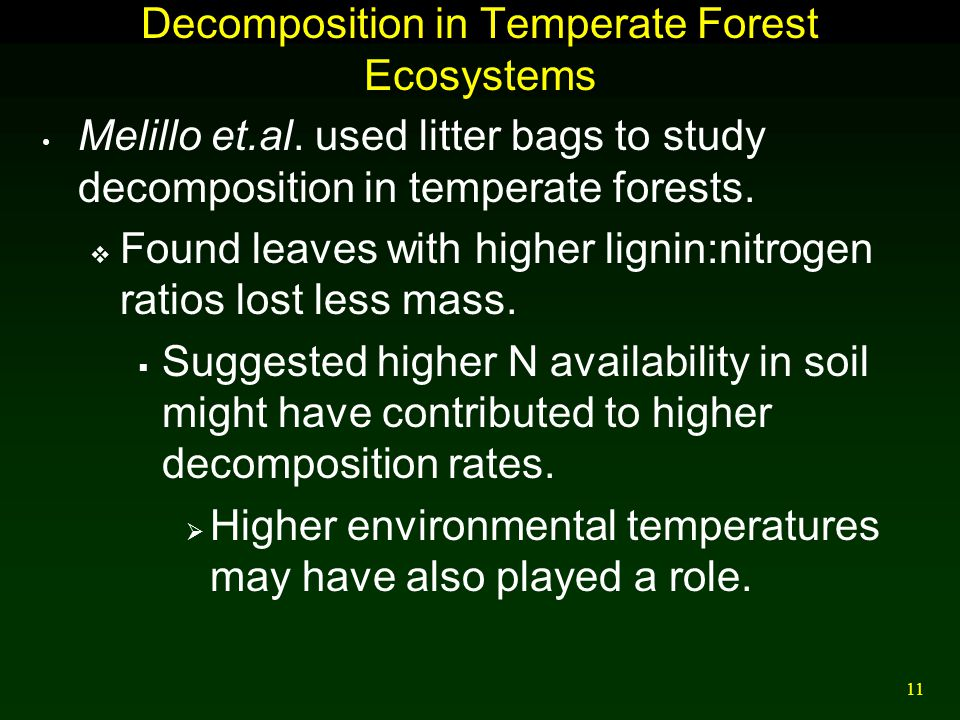 11 Decomposition in Temperate Forest Ecosystems Melillo et.al. used litter bags to study decomposition in temperate forests.  Found leaves with highe