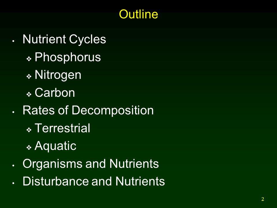 3 Phosphorus Cycle Global phosphorus cycle does not include substantial atmospheric pool.