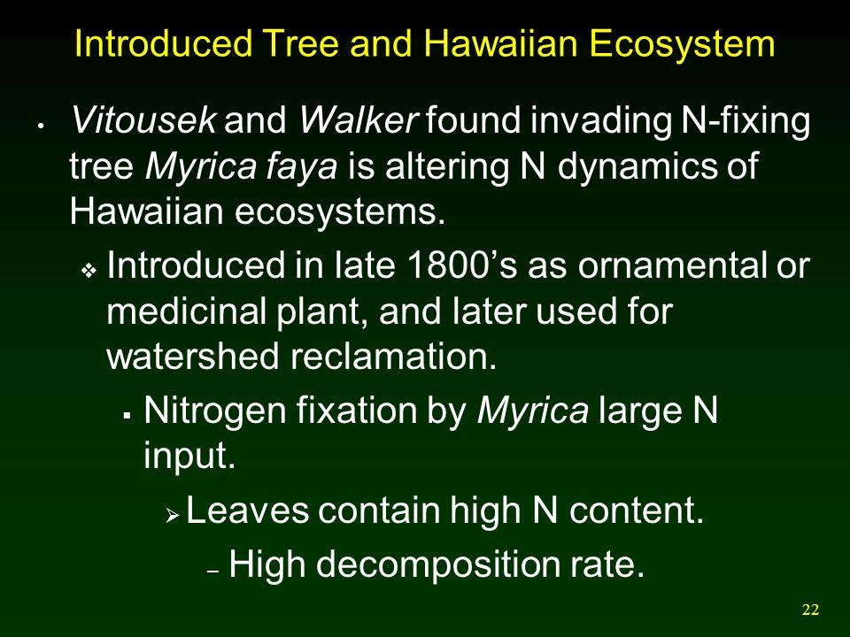 22 Introduced Tree and Hawaiian Ecosystem Vitousek and Walker found invading N-fixing tree Myrica faya is altering N dynamics of Hawaiian ecosystems.