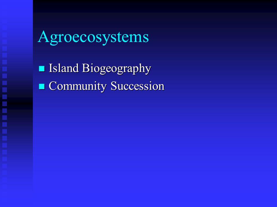 Agroecosystems Island Biogeography Island Biogeography Community Succession Community Succession