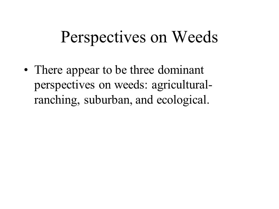 Agricultural-Ranching Perspective The agricultural perspective considers any plant a weed if it competes with crops for the available nutrients and moisture in a field.