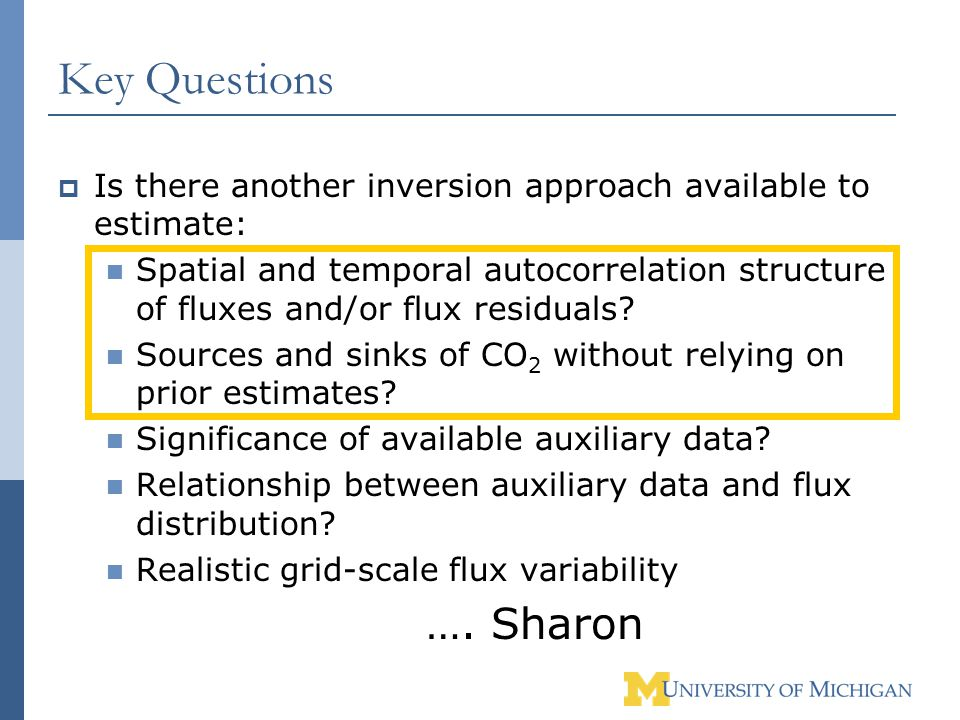 Key Questions  Is there another inversion approach available to estimate: Spatial and temporal autocorrelation structure of fluxes and/or flux residuals.