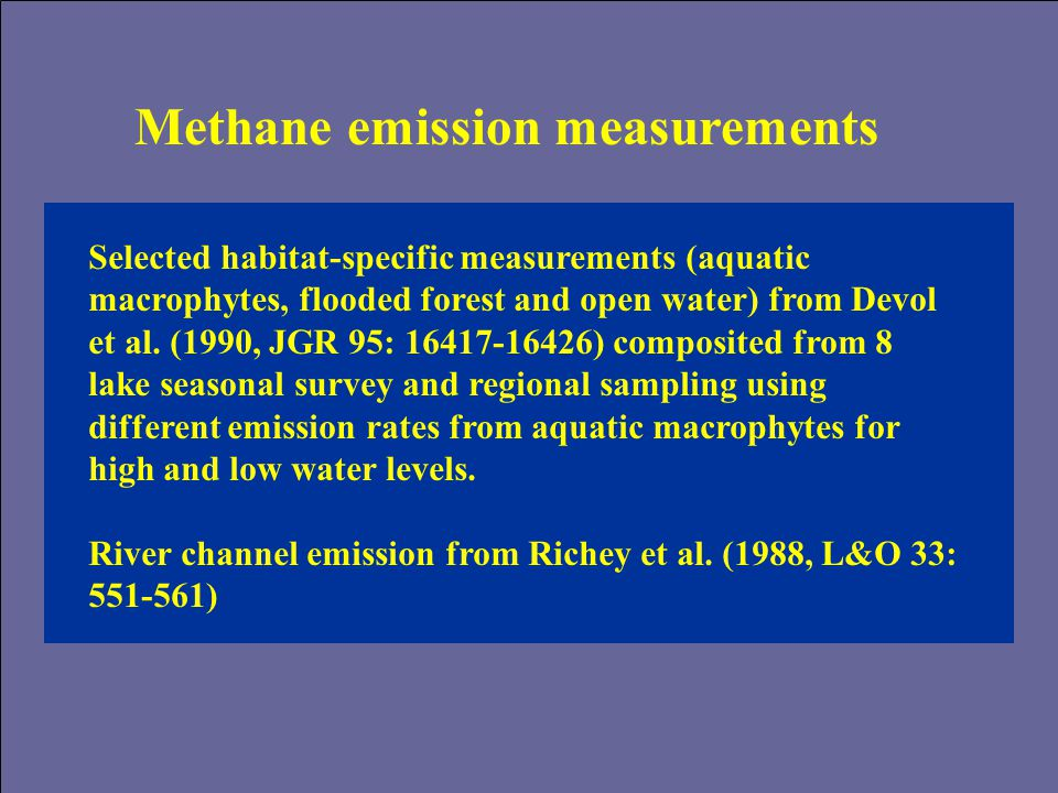 Methane emission measurements Selected habitat-specific measurements (aquatic macrophytes, flooded forest and open water) from Devol et al.