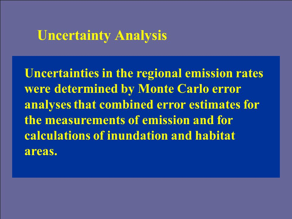 Uncertainty Analysis Uncertainties in the regional emission rates were determined by Monte Carlo error analyses that combined error estimates for the