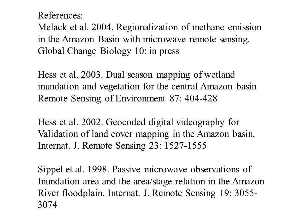 References: Melack et al. 2004. Regionalization of methane emission in the Amazon Basin with microwave remote sensing. Global Change Biology 10: in pr