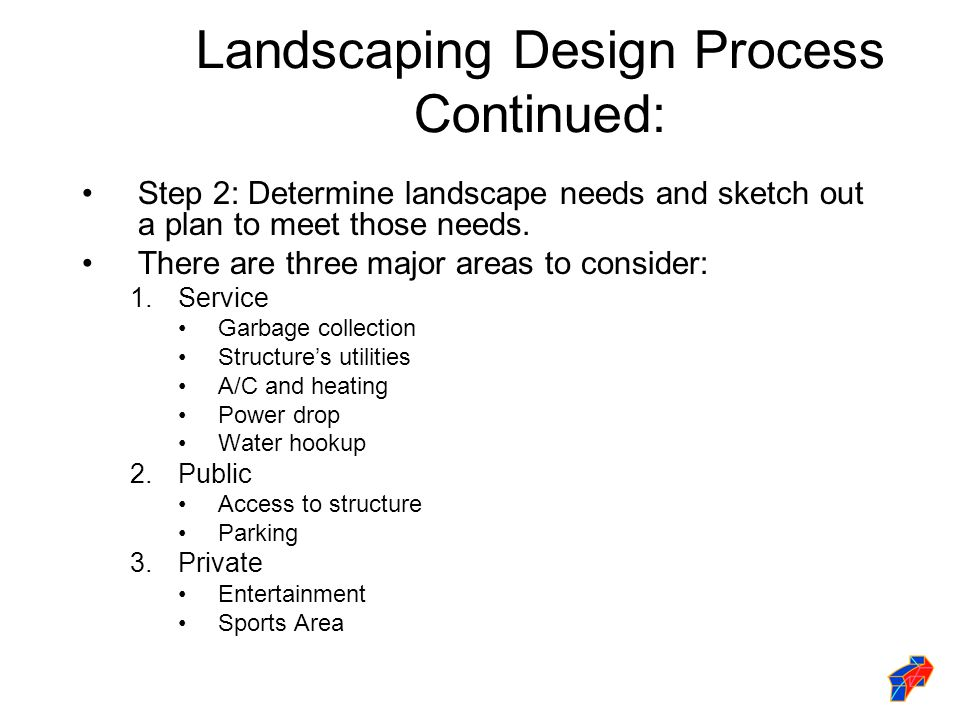 Landscaping Design Process Continued: Step 2: Determine landscape needs and sketch out a plan to meet those needs.