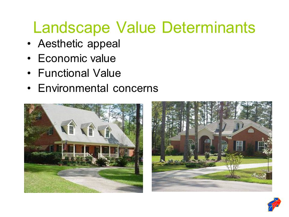 Landscape Value Determinants Aesthetic appeal Economic value Functional Value Environmental concerns